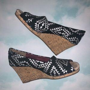 Toms Peep Toe Cork Wedge Platform Heels